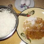Рис, сахар, изюм, яйца
